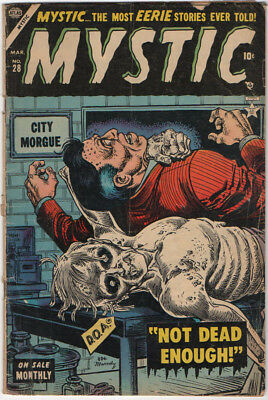 """Mystic #28 G 2.0  1954  classic """"Not Dead Enough"""" Maneely cover"""
