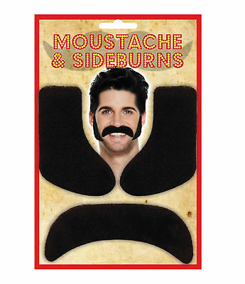 Black Moustache & Sideburns - Mexican Fancy Dress Costume Accessory Adhesive