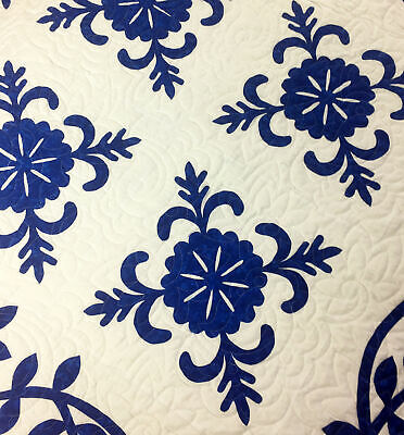 Hand Applique Blue & White Sand Dollar FINISHED QUILT - Very Nice