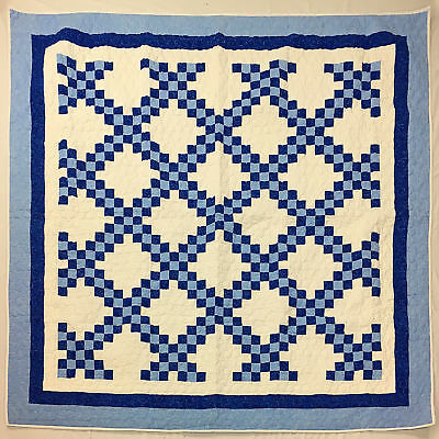 Blue and White Double Irish Chain patchwork FINISHED QUILT - Feather Quilting