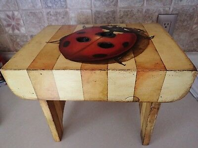 Folk Art Hand Painted Wooden Foot Stool w/Painted Ladybug
