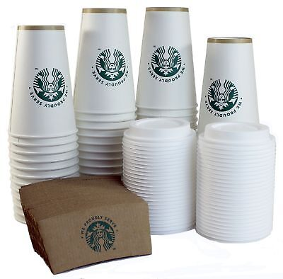 Starbucks White Disposable Hot Paper Cup, 16 Ounce, Sleeves and Lids (Pack of...