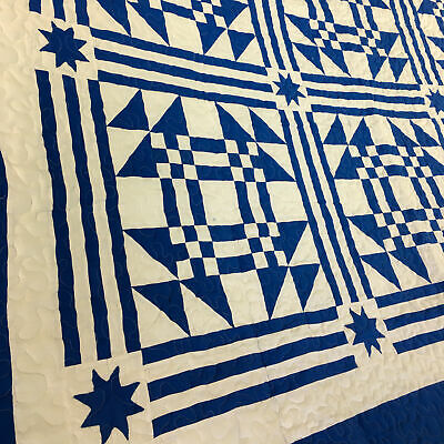Blue & White Young Man's Fancy FINISHED QUILT Graphic Beauty