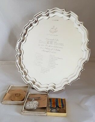 A Sterling silver Salver.Of Military interest. Sheffield 1935.By Walker and Hall