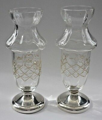 Pair Of Antique Cut Crystal And Silver Base Vases 1917 Hallmark