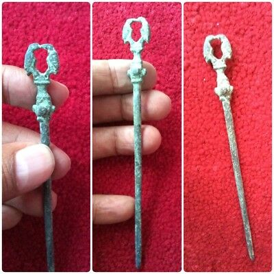 Antique Roman Medieval Double Duo Bird Bronze Hair Pin Victorian Greek Ancient