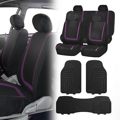 Flat Cloth Seat Covers Purple & Black with Classic Rubber Trimmable Floor Mats