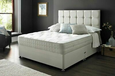 Cubed Leather or Suede Divan Bed + Orthopeadic Mattress + Headboard