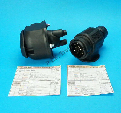 13 Pin Towing Socket with Twin Cable Gasket & Twin Cable Conversion Plug Caravan