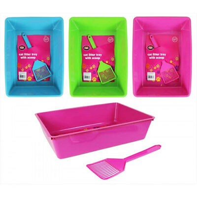 Cat Litter Tray With Scoop & 24 Litter Tray Liners 4 Colours