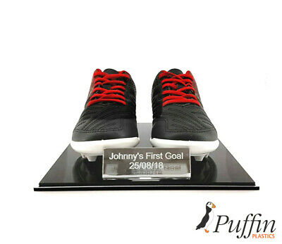 Child Perspex Football Boot Display Case -Double (With Free Inscription Plaque)