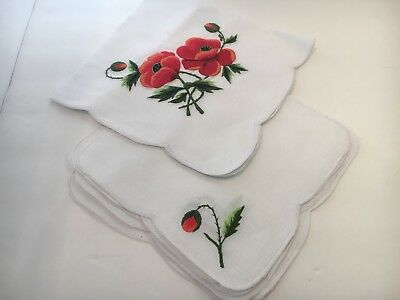 Hand Stitch Vintage Linen Small Tea Size Tablecloth Red Poppy Flowers 6 Napkins