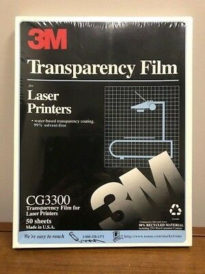 """3M TRANSPARENCY FILM FOR LASER PRINTER -  50 Sheets -  8.5""""x11"""" -  CG3300"""