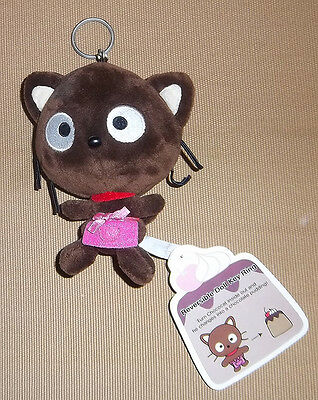 Hello Kitty Sanrio Brown Plush Chococat Key Ring Pudding With Tag Reversible