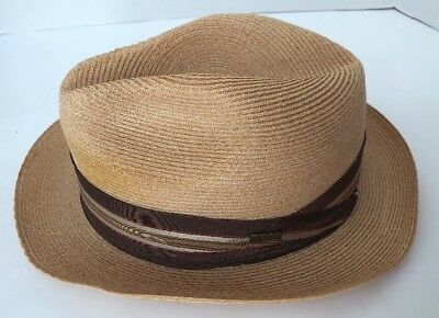 DOBBS VINTAGE STRAW Fedora Men s Hat with Black   Brown Band -- Size ... 5da46aace874