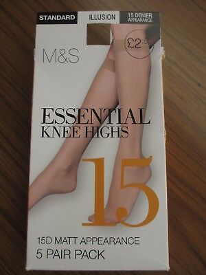 3 Pairs Knee Highs M&S Essentials 15 Denier Appearance Standard Size