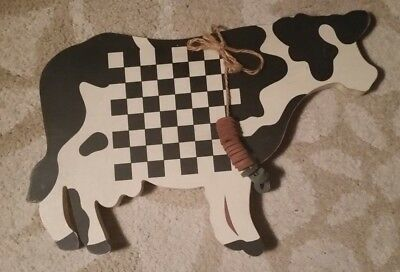 1987 Vintage Wood Cow Wall Hanging Black & White Checkerboard Center Wang Int'l