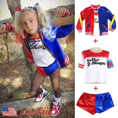 Hot Kids Girls Suicide Squad Harley Quinn Coat Shorts Set Halloween Costume Suit