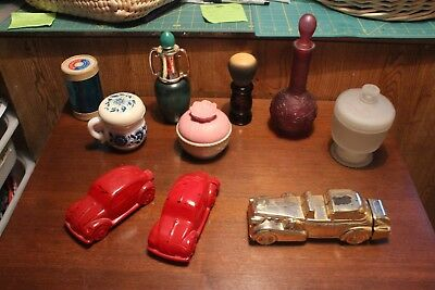 Lot 9 Vintage Avon fragrance bottles. Spool of soap. Cars, shaving brush, candle