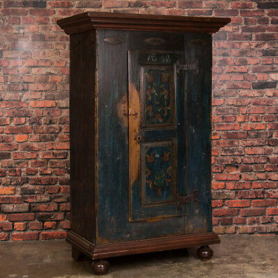 Antique Russian Single Door Armoire With Original Paint