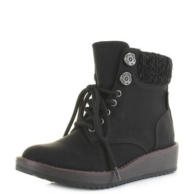Womens Blowfish Chomper Black Low Wedge Heel Lace Up Boots UK Size