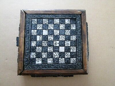 Mayan Aztec Themed Chess Set Wood Box With Drawer Aztec Themed Pieces