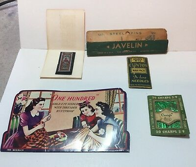Lot of vintage sewing needles and pins.