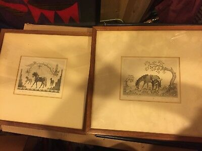 TWO Woody Crumbo signed HORSE ORIGINALS ETCHING FRAMED Native American ART