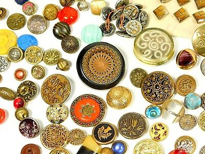 Button LOT Antique VINTAGE VICTORIAN Metal, Glass, Enamel, Small BRASS  #306