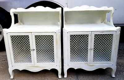 Pair French Style 2 Door End Tables Night Stands White Chic Distressed
