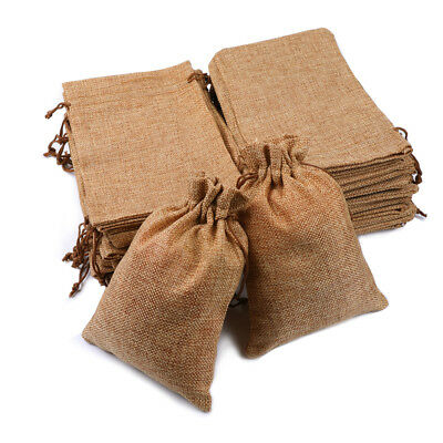 25/50/100x Burlap Wedding Favor Bags Natural Line Jewelry Pouches Jute Gift Bag