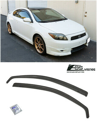 JDM IN-CHANNEL SMOKE TINTED Side Window Sun Shade Rain Guards For 05-10 Scion tC