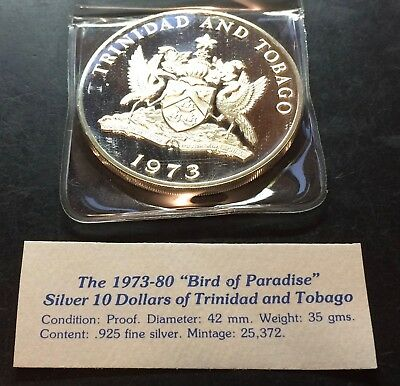 "1973 ""Bird of Paradise""  Silver 10 Dollars of Trinidad & Tobago Proof Condition"