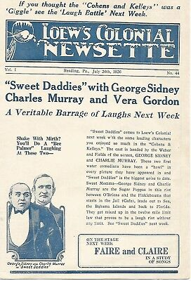 Loew's Colonial Newsette 26th July 1926 Vol :I No :44 George Sidney