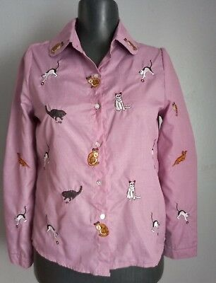 Embroidered Crazy Cat Lady Shirt Womens Kitten Themed Button Up Pink Top Costume