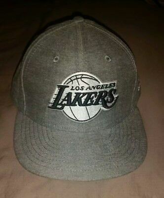 Los Angeles LA Lakers New Era 59fifty HWC Hardwood Denim Cap Hat 7 3/8 Used Rare