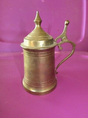 VINTAGE BRASS LIDDED Beer Stein Made in India