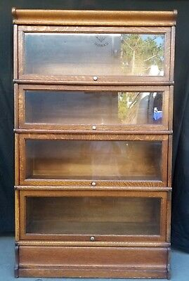 "4 Stack Tiger Oak Macey Bookcase Lawyers Barrister 57 1/3"" X 34"" Antique"