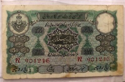 5 rupees hyderabad Nizam india circulated 1945-47 liaquat jung governor