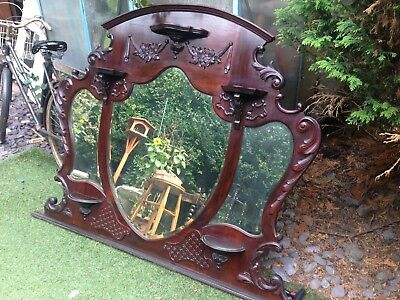 Beautiful Ornate Victorian Mirrored Overmantle With Shelves