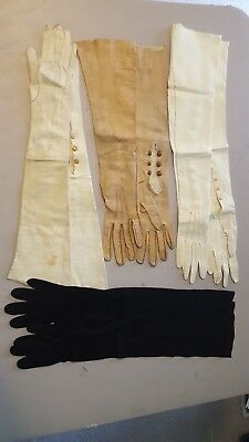 Ladies Vintage Calfskin (?) Elbow Length Outdoor Gloves (4 pairs).  XL cond.