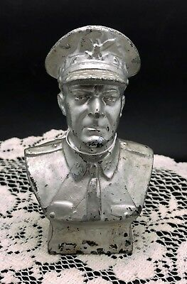 "Vintage MACARTHUR Figural Coin Bank - 6"" tall - Silver Painte Metal"