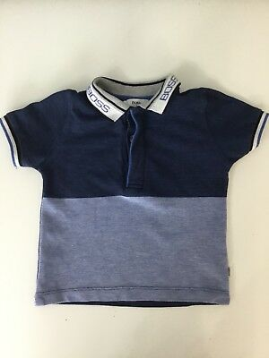 Hugo Boss Boys Short Sleeve Collared Polo Top Age 12M Blue Navy White Smart
