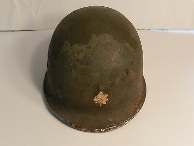 WWII US Army MAJOR INSIGNIA M1 Steel Pot Helmet Fixed Bale Front Seam & Liner