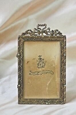 Antique French ornate solid bronze photograph holder