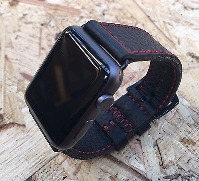For Apple Watch Series 4 3 2 1 42mm 44mm Black Lyche Leather Watch Strap Band
