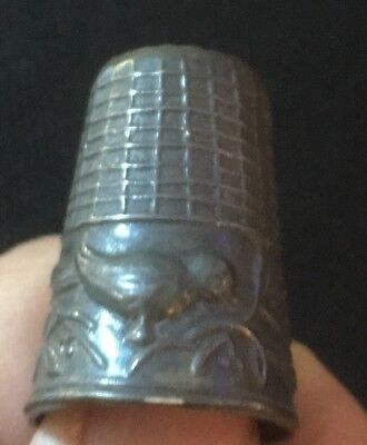 Vintage Sterling Thimble - Tall Bird In Branch