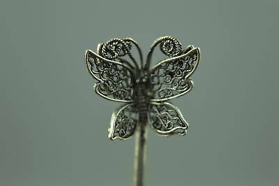 Collectible Decor China Tibet Silver Carve Lifelike Butterfly Woman Hairpin Gift