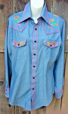 Vintage 70's Embroidered Sears The Men's Store Jeans Joint long sleeve Shirt MED