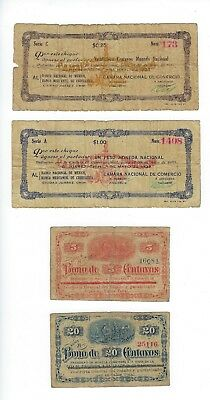 Mexico  4 Small Denomiation Notes   Pair Early   Vg-F
